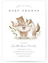 This is a white baby shower invitation by Vivian Yiwing called Woodland Baby with standard printing on signature in standard.