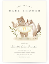 This is a yellow baby shower invitation by Vivian Yiwing called Woodland Baby with standard printing on signature in standard.