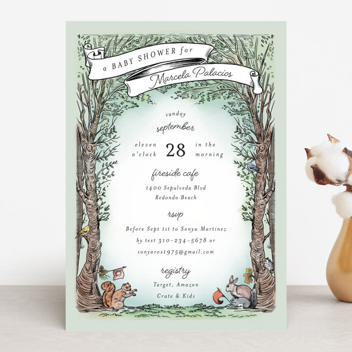 """""""Victorian Forest Scene"""" - Whimsical & Funny Baby Shower Invitations in Mint by Becky Nimoy."""
