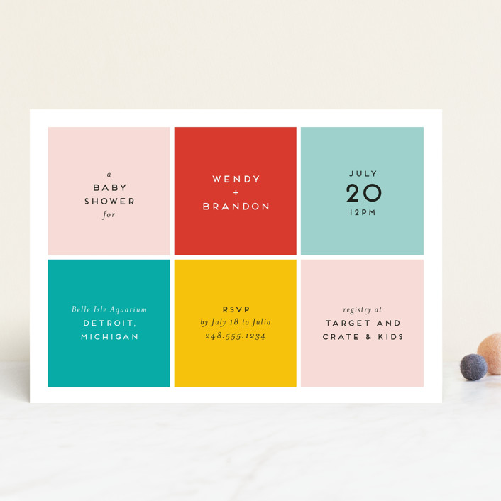 """Color Blocking"" - Modern Baby Shower Invitations in Blush by Genna Cowsert."