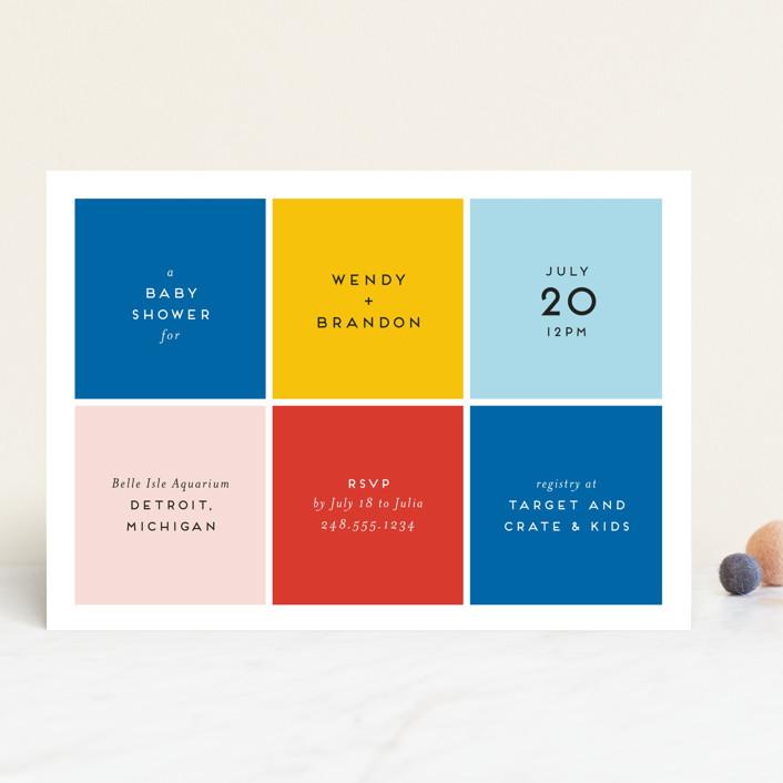 """Color Blocking"" - Modern Baby Shower Invitations in Blush by Genna Blackburn."