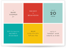 This is a green baby shower invitation by Genna Blackburn called Color Blocking with standard printing on signature in standard.