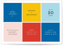 This is a blue baby shower invitation by Genna Cowsert called Color Blocking with standard printing on signature in standard.