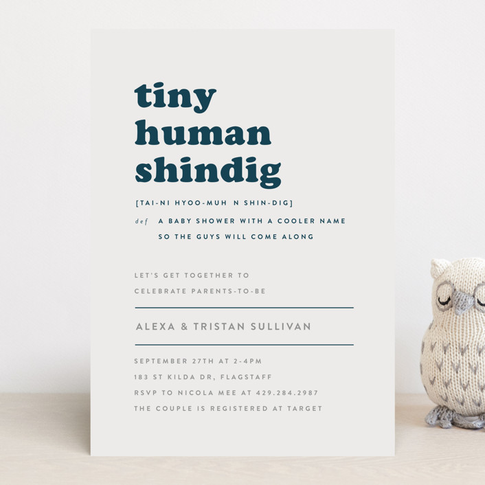"""Tiny Human"" - Funny Baby Shower Invitations in Whale by Bonjour Berry."