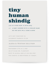 This is a blue baby shower invitation by Corinne Malesic called Tiny Human with standard printing on signature in standard.