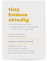 This is a yellow baby shower invitation by Bonjour Berry called Tiny Human with standard printing on signature in standard.