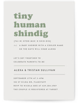 This is a green baby shower invitation by Bonjour Berry called Tiny Human with standard printing on signature in standard.