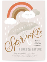 This is a brown baby shower invitation by Alethea and Ruth called Rainbow Umbrella Sprinkle with standard printing on signature in standard.