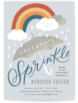 This is a blue baby shower invitation by Alethea and Ruth called Rainbow Umbrella Sprinkle with standard printing on signature in standard.