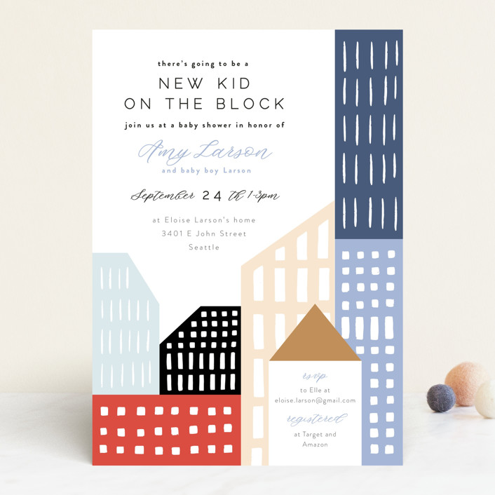 """""""Modern new kid on the block"""" - Whimsical & Funny Baby Shower Invitations in Sky by Alethea and Ruth."""