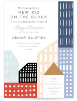 This is a blue baby shower invitation by Alethea and Ruth called Modern new kid on the block with standard printing on signature in standard.