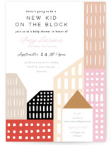 This is a colorful baby shower invitation by Alethea and Ruth called Modern new kid on the block with standard printing on signature in standard.