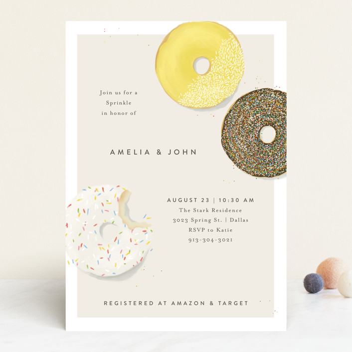 """""""Simple Sprinkle"""" - Whimsical & Funny Baby Shower Invitations in Sunflower by Julie Murray."""