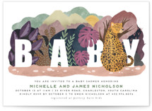 This is a green baby shower invitation by Grae Sales called Camouflage Warriors with standard printing on signature in standard.