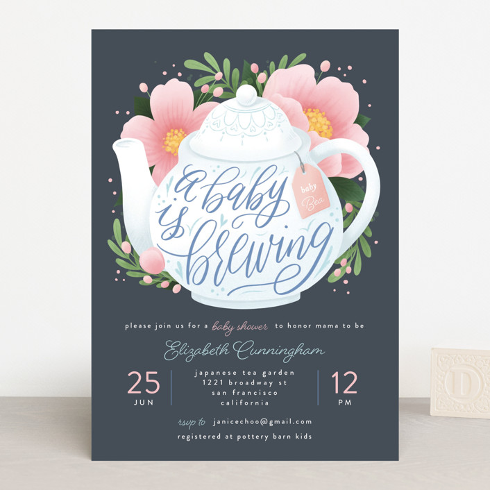 """""""A Baby Is Brewing"""" - Whimsical & Funny Baby Shower Invitations in Navy by Four Wet Feet Studio."""