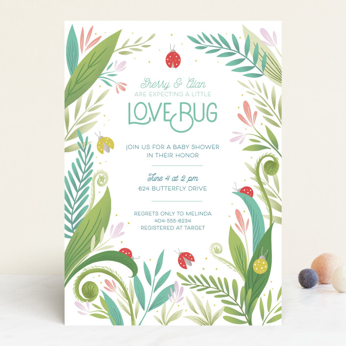 """Little Love Bug"" - Baby Shower Invitations in Ladybug by Gia Graham."