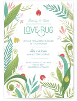 This is a green baby shower invitation by Gia Graham called Little Love Bug with standard printing on signature in standard.