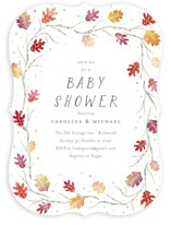 This is a red baby shower invitation by Jackie Crawford called Watercolor Leaf Frame with standard printing on signature in standard.