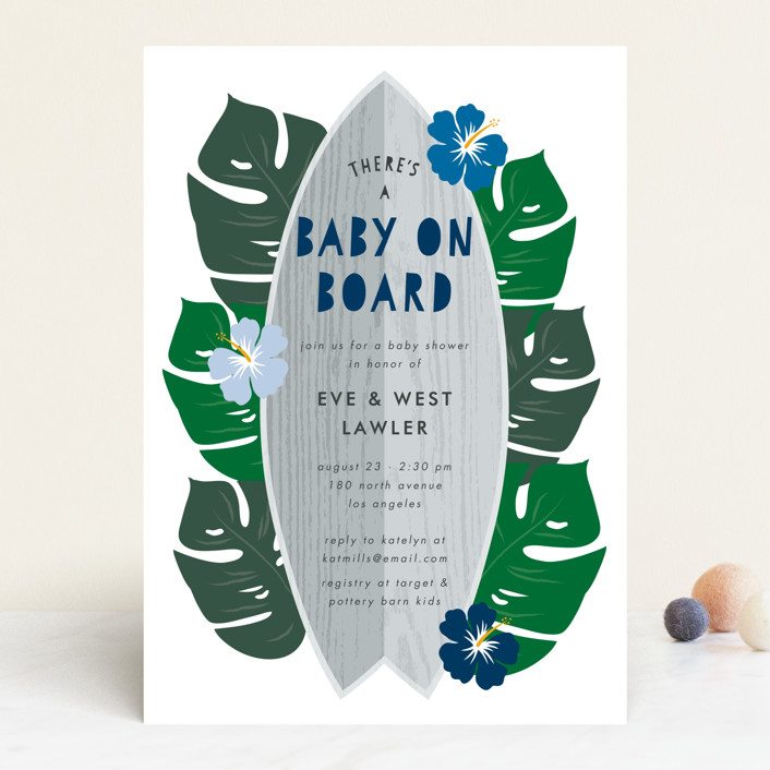 """Surf Baby"" - Whimsical & Funny Baby Shower Invitations in Surf by Lehan Veenker."