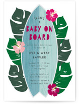 This is a blue baby shower invitation by Lehan Veenker called Surf Baby with standard printing on signature in standard.