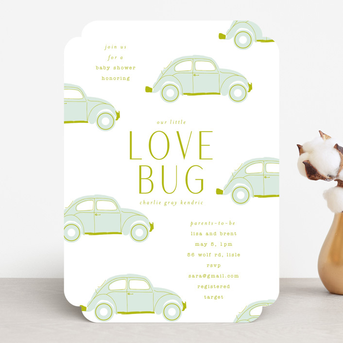 """""""Love Bug"""" - Whimsical & Funny Baby Shower Invitations in Pine by Baumbirdy."""