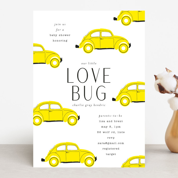 """Love Bug"" - Whimsical & Funny Baby Shower Invitations in Pine by Baumbirdy."