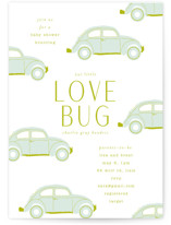 This is a green baby shower invitation by Baumbirdy called Love Bug with standard printing on signature in standard.