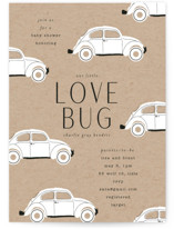 This is a brown baby shower invitation by Baumbirdy called Love Bug with standard printing on signature in standard.