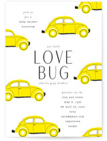 This is a yellow baby shower invitation by Baumbirdy called Love Bug with standard printing on signature in standard.