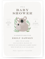 This is a grey baby shower invitation by Itsy Belle Studio called Baby Koala with standard printing on signature in standard.