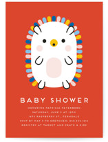 This is a orange baby shower invitation by Genna Blackburn called Rainbow Hedgehog with standard printing on signature in standard.