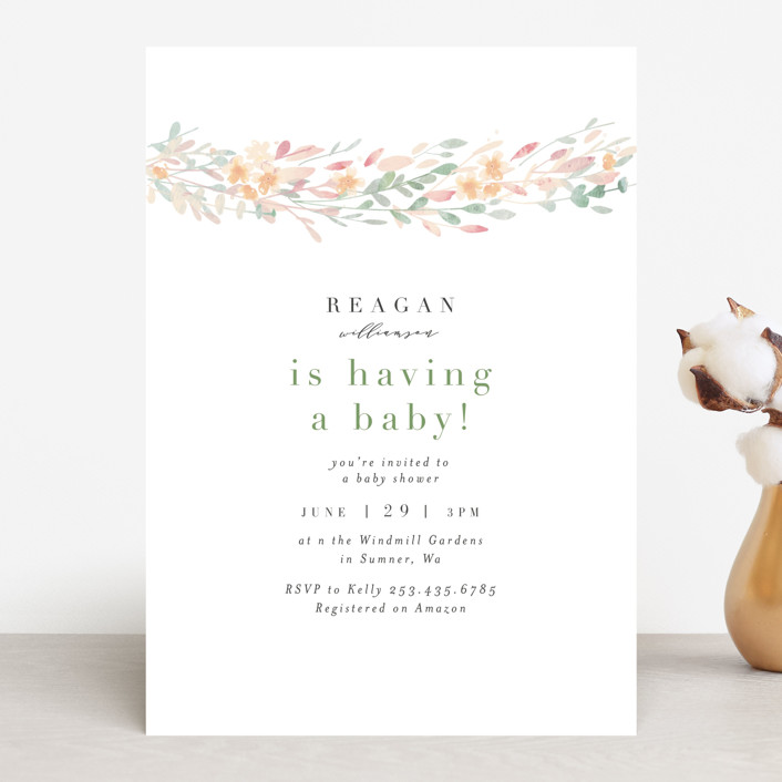 """Flower Chain"" - Baby Shower Invitations in Spring by Itsy Belle Studio."
