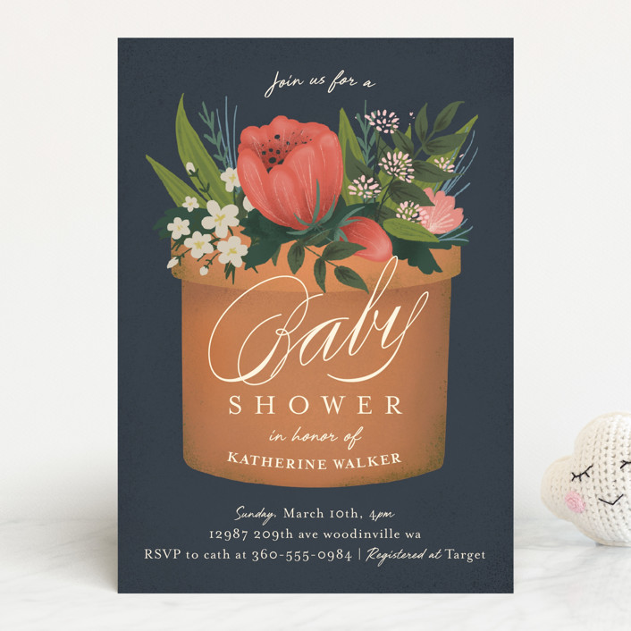 """a garden of new life"" - Baby Shower Invitations in Navy by Heather Francisco."