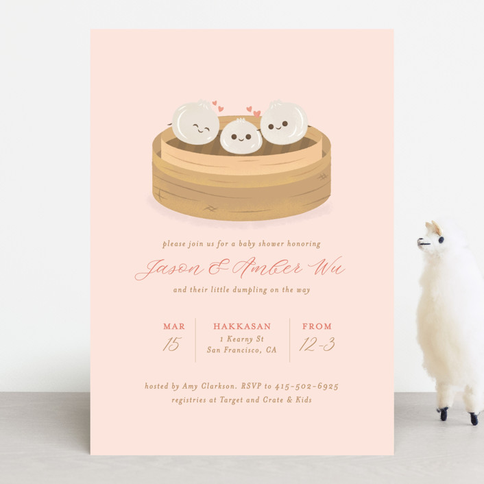 """""""Dumpling"""" - Whimsical & Funny Baby Shower Invitations in Blush by curiouszhi design."""