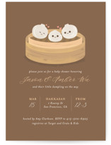 This is a brown baby shower invitation by curiouszhi design called Dumpling with standard printing on signature in standard.