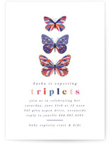 This is a blue baby shower invitation by Nazia Hyder called Vibrant Butterflies with standard printing on signature in standard.