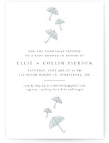 This is a blue baby shower invitation by Erin Deegan called Umbrellas with standard printing on signature in standard.