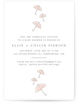 This is a pink baby shower invitation by Erin Deegan called Umbrellas with standard printing on signature in standard.
