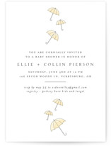 This is a yellow baby shower invitation by Erin Deegan called Umbrellas with standard printing on signature in standard.