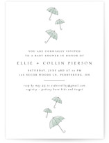 This is a green baby shower invitation by Erin Deegan called Umbrellas with standard printing on signature in standard.