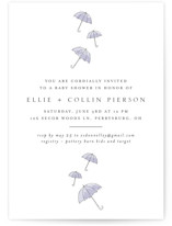 This is a purple baby shower invitation by Erin Deegan called Umbrellas with standard printing on signature in standard.