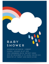 This is a blue baby shower invitation by Genna Blackburn called Rainbow Rain with standard printing on signature in standard.