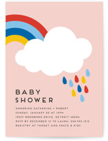 This is a pink baby shower invitation by Genna Blackburn called Rainbow Rain with standard printing on signature in standard.