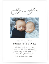 This is a black baby shower invitation by Ana Sharpe called Minimalist Duo with standard printing on signature in standard.