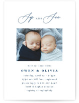 This is a blue baby shower invitation by Ana Sharpe called Minimalist Duo with standard printing on signature in standard.