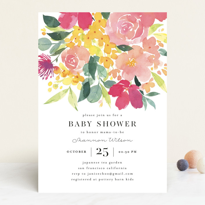 """Watercolor Blossoms"" - Baby Shower Invitations in Spring Blossoms by Four Wet Feet Studio."