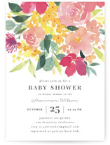 This is a pink baby shower invitation by Shannon Chen called Watercolor Blossoms with standard printing on signature in standard.