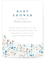 This is a blue baby shower invitation by Karidy Walker called Wildflowers with standard printing on signature in standard.