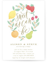 This is a green baby shower invitation by Everett Paper Goods called Sweet As Can Be with standard printing on signature in standard.