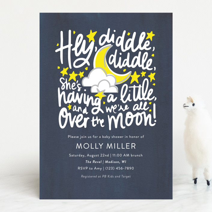 """Hey, Diddle, Diddle"" - Whimsical & Funny Baby Shower Invitations in Navy by Meggy Masters."